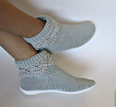 Обувь ручной работы. Ярмарка Мастеров - ручная работа. Купить Вязаные сапожки...Ажур. Handmade. Серый, полусапожки вязаные