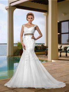 Attractive Straps Trumpet Court Train with Belt Wedding Dress 10870181 - Wedding Dresses 2014 - Dresswe.Com