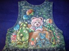 Stitched Musings: Fabric Painting: 'Curious Bears' and 'Pansie.' I love painting on denim. :)