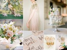 Sun-kissed blush and gold garden wedding inspiration board with epic wedding dress