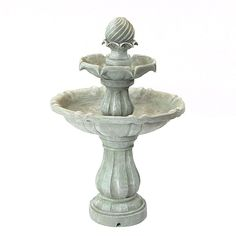 Sunnydaze Two Tier Solar-on-Demand Outdoor Water Fountain, White Earth, 35 Inch Tall image