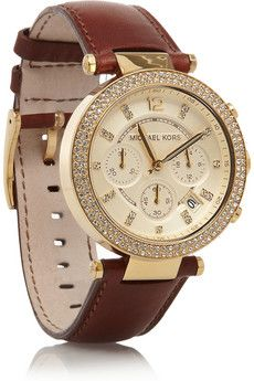 Leather, stainless steel and crystal chronograph watch. Michael Kors.