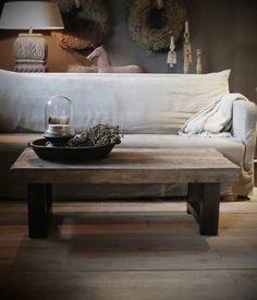 Oud houten driftwood Salontafel met ijzeren onderstel