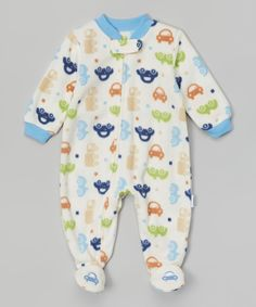 Look what I found on #zulily! Vitamins Baby Ivory & Blue Cars Footie - Infant by Vitamins Baby #zulilyfinds