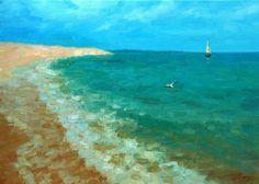 """Sunny journey"" oil on canvas, 50x70 cm, Januaryr 2018 Price 700$ #FOR_SALE #Painting #landscape #Art #wiesbaden #Sailboats #evening  #sea #Sunny #journey http://dmitry-oleyn3.webnode.com/meine-arbeit/"