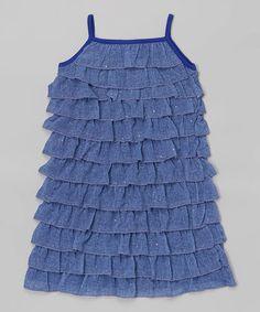 Look at this #zulilyfind! Blue Ruffle Dress - Girls by Lipstik Girls #zulilyfinds