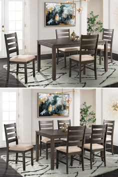 With simple, clean lines and a rich brown finish, this dining set is a versatile addition to any dining room. The ladderback chairs with upholstered seats create a relaxed, but classic look. while the brown finish brings warmth to your home. #ohmygahs #shopgahs #diningroom #diningroomset #diningtableandchairs #diningtable #diningchairs #kitchentable #diningsets