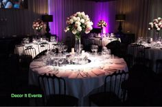 Pink,mauve and white roses tall centerpiece#wedding centerpieces#sketch Atlantic group www.decorit.com.au