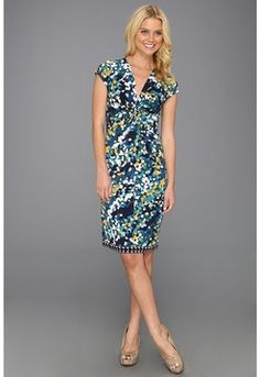 This one!  soooo cute BCBGMAXAZRIA - Laila Twist Front Wrap Dress (Cyan Combo) - Apparel on shopstyle.com