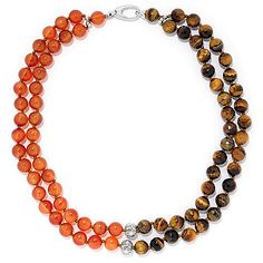 "158-078 - Dallas Prince Rocks Sterling Silver 18"" Multi Gemstone Two-Strand Beaded Necklace"