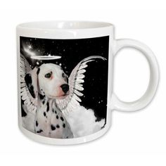 East Urban Home Dalmatian Angel Dog with Clouds, a Cute Halo and Angel Wings Coffee Mug Size: Espresso Cups Set, Cappuccino Cups, Coffee Mug Sets, Mugs Set, Cupping Set, Cup And Saucer Set, Dalmatian, China Porcelain, Angel Wings