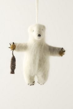 Felted Polar Bear Ornament - contemporary - holiday decorations - Anthropologie