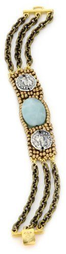 """TAT2 Designs """"St. Tropez"""" Gold Glass Bead, Amazonite Bracelet TAT2 Designs. $103.99. Made in USA. Custom matte gold closure, antique silver coins. Faceted amazonite 15mm x 20mm"""