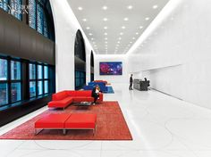 Studios Architecture outfitted the main reception area at Sony's U.S. headquarters in New York with seating by René Holten Designer. Photography by Eric Laignel.
