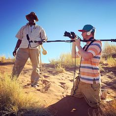 EES with camera, boom arm and headphones on a dune at Namib Dune Star Camp. (Source: EES)