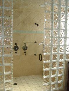 Glass Shower Design Ideas | Open Shower Bathroom Design With Glass Cabinet: Glass Block Shower ...