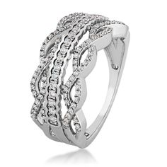 Ladies Diamond Anniversary Ring in 10 Kt. White Gold - YR-5031810W'