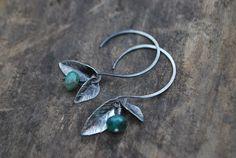 Fallen Leaves with Raw Emerald Earrings