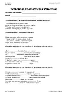 I.E. Nº 86816                                                                   Vacaciones Útiles 2011  Atocpampa           EJERCICIOS DE SINONIMOS Y ANTONIMOS… Elementary Spanish, Ap Spanish, Spanish Classroom, Spanish Lessons, Spanish Worksheets, Spanish Teaching Resources, Spanish Exercises, Visual Perception Activities, Spanish Language