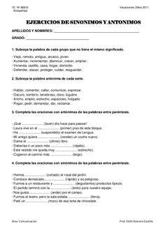 I.E. Nº 86816                                                                   Vacaciones Útiles 2011  Atocpampa           EJERCICIOS DE SINONIMOS Y ANTONIMOS…