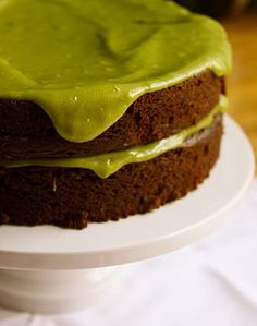 Avocado Cake with Avocado Buttercream    Ingredients:  Avocado Cake:  3 cups all-purpose flour  6 Tablespoons unsweetened cocoa powder  1/2 teaspoon salt  2 teaspoons baking powder  2 teaspoons baking soda  2 cups granulated sugar  1/4 cup vegetable oil  1/2 cup soft avocado, well mashed, about 1 medium avocado  2 cups water  2 Tablespoons white vi