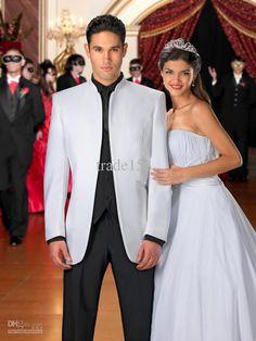 frac black and white men wedding tuxedo and suit terno para noivo Men's Tuxedo Wedding, White Wedding Suit, Wedding Groom, Wedding Men, Wedding Suits, Wedding Dresses, Wedding Tuxedos, Wedding Ideas, Wedding Coat