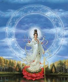 Kuan Yin, the Chinese goddess of compassion, mercy, and protection. Teaches us to practice a life of harmlessness, easing the suffering in the world and not adding to it.