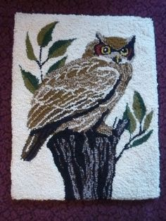 "Vintage Handmade Owl Latch Hook Rug Made of Wool 21"" X 26"""