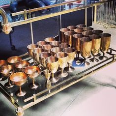 Vintage brass barware at House of Honey