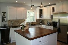 walnut countertops white cabinets - Google Search