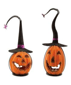 Another great find on #zulily! Crackle Finish Jack-o'-Lantern Witch Candle Holder Set #zulilyfinds