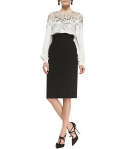 Lace-Embellished Silk Top and Wrapped-Waist Midi Skirt by Oscar de la Renta at Bergdorf Goodman.