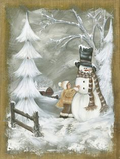 Making A Friend by Musser, Michele Christmas Crafts To Make, Christmas Rock, Christmas Scenes, Christmas Projects, Vintage Christmas, Christmas Decorations, Christmas Ornaments, Christmas Paintings On Canvas, Christmas Canvas