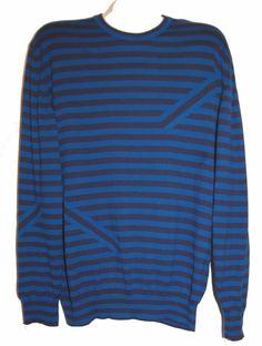 Paul Smith Black Blue Stripes Men's Cotton Sweater Size 2XL NEW RetAIL $265 #PaulSmith #Crewneck