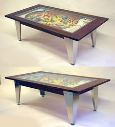 Furniture Maker Michael Maxwell has re-purposed vintage pinball machines as furniture for the home as console tables, wall mirrors and bar cabinets.