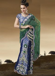 Green and Blue Color Net 1 Minute Designer Saree : Divina Collection YF-23132