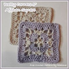 "Pretty Corners 5"" Afghan Square ~ FREE Crochet Pattern"