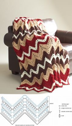 Cabin In The Woods, new free blanket pattern from Bernat #crochet #afghan #throw #pillow #ripple