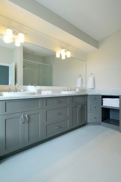 White & Grey Bathroom - contemporary - bathroom - calgary - by Veranda Estate Homes & Interiors