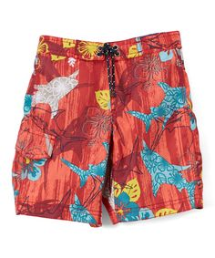 Red Floral Swim Trunks - Toddler & Boys
