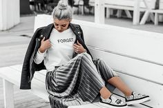 Get this look: http://lb.nu/look/8601325 More looks by Kristina Dolinskaya: http://lb.nu/kristina_doli Items in this look: Gray Pleated Midi Skirt In Velvet #casual #chic #street