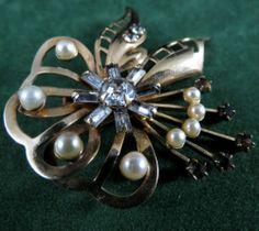 Beautiful Vintage 12K GF Pearl and Rhinestone Brooch Signed Carl Art | eBay