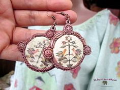 Romanian traditonal motifs hand-dyed and hand painted blouse & earings Fashion Jewelry Necklaces, Fashion Necklace, Jewelry Art, Antique Jewelry, Vintage Jewelry, Medieval Jewelry, Handmade Items, Handmade Gifts, Polymer Clay Jewelry