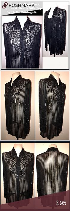"VTG Niteline Blk Sparkly Sequins & Beads Silk Top! Vintage Niteline Black Sparkly Sequins & Beads Silk Top by Della Roufogali. Features a lovely floral design embellished with fine seed beads & sequins on silk with front 9 snap closure. Size M. Measures: 17"" sh to sh, 38"" around chest, 24"" sh to sleeve, 17"" armpit to sleeve with 29"" back length. One of the bottom snaps does not close but can be replaced. VG condition with minor bead loss. No rips, tears or damage. Offers welcome! Vintage…"