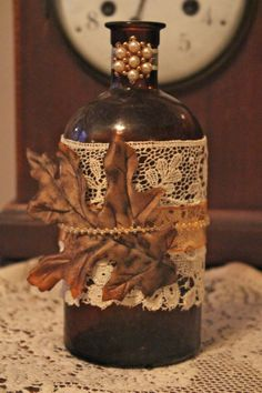 Vintage autumn shabby chic leaf decorated bottle by divinehippie, $12.50