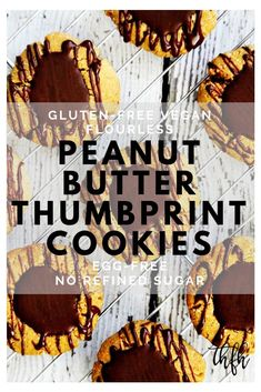 This healthy, easy Gluten-Free Vegan Flourless Chocolate Peanut Butter Thumbprint Cookies recipe is the best ever! { The Healthy Family and Home } Healthy Vegan Cookies, Healthy Dessert Recipes, Vegan Recipes, Peanut Butter Recipes, Chocolate Peanut Butter, Peanut Butter Thumbprint Cookies, Oat Cookies, Flourless Chocolate, Healthy Chocolate