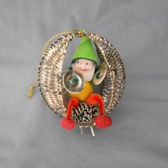 Vintage Christmas Ornament ~ Spun Cotton Chenille Musician Pixie Elf. Circa 1950's