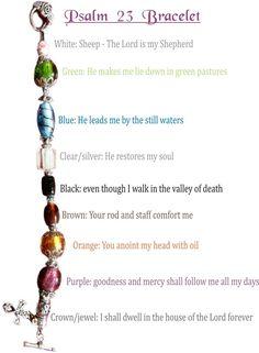 Psalm 23 bracelet – Can be redone using pony beads or other beads. Psalm 23 bracelet – Can be redone Do It Yourself Jewelry, Do It Yourself Fashion, Christian Crafts, Christian Jewelry, Christian Bracelets, Psalm 23, Beaded Jewelry, Handmade Jewelry, Beaded Bracelets
