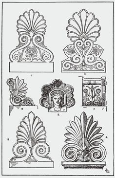 Architecture   Elements   Palmette / Anthemion : resembles the fan-shaped leaves of a palm tree. It has a far-reaching history, originating in Ancient Egypt with a subsequent development through the art of most of Eurasia, often in forms that bear relatively little resemblance to the original. In Ancient Greek and Ancient Roman uses it is also known as the anthemion. It is very often a component of the design of a frieze or border.
