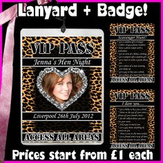 http://www.ebay.co.uk/itm/Personalised-LEOPARD-Print-VIP-Pass-Lanyard-Badges-Hen-Night-Party-Photo-bag-/120855127822?pt=UK_Health_Beauty_Make_Up_Cosmetics_Foundation_PP==item61cda32426  PLEASE PIN IF YOU LIKE THIS :-)  Hen night, lanyard, birthday party, personalised lanyard, dare card, scavenger card